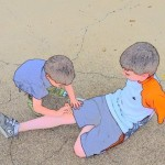 Helping a friend - copyright Cindy Wilkerson